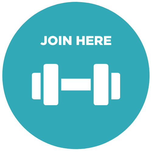An icon showing a dumbbell, with the caption 'join here'